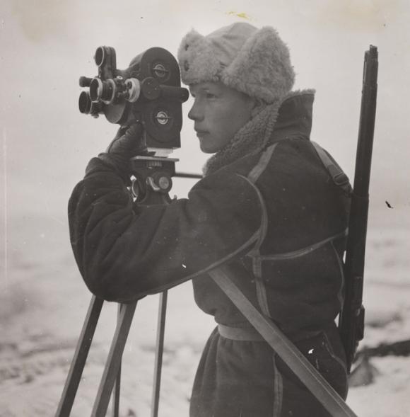 Photographer Mattis Mathiesen focused and working.